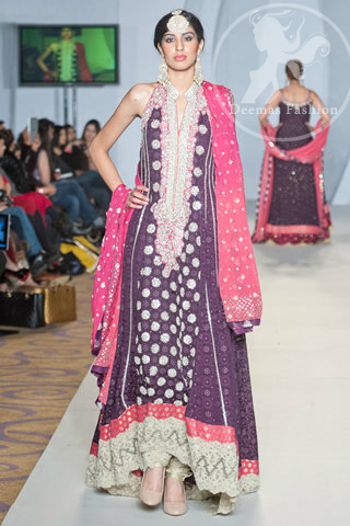 Dark Purple Shocking Pink Heavily Embellished Neckline Pishwas