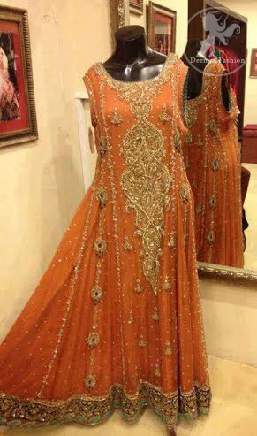 Deep Orange Fully Embellished Pishwas