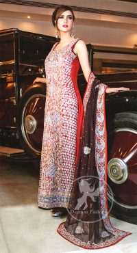 Deep-Red-Fully-Embellished-Formal-Long-Shirt-With-Plum-Dupatta