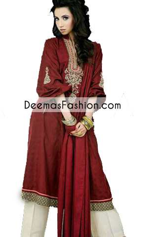 Deep-maroon-a-line-casual-wear-dress1