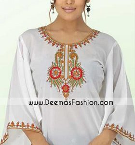 Designers kurta Collection – White Embroidered Top