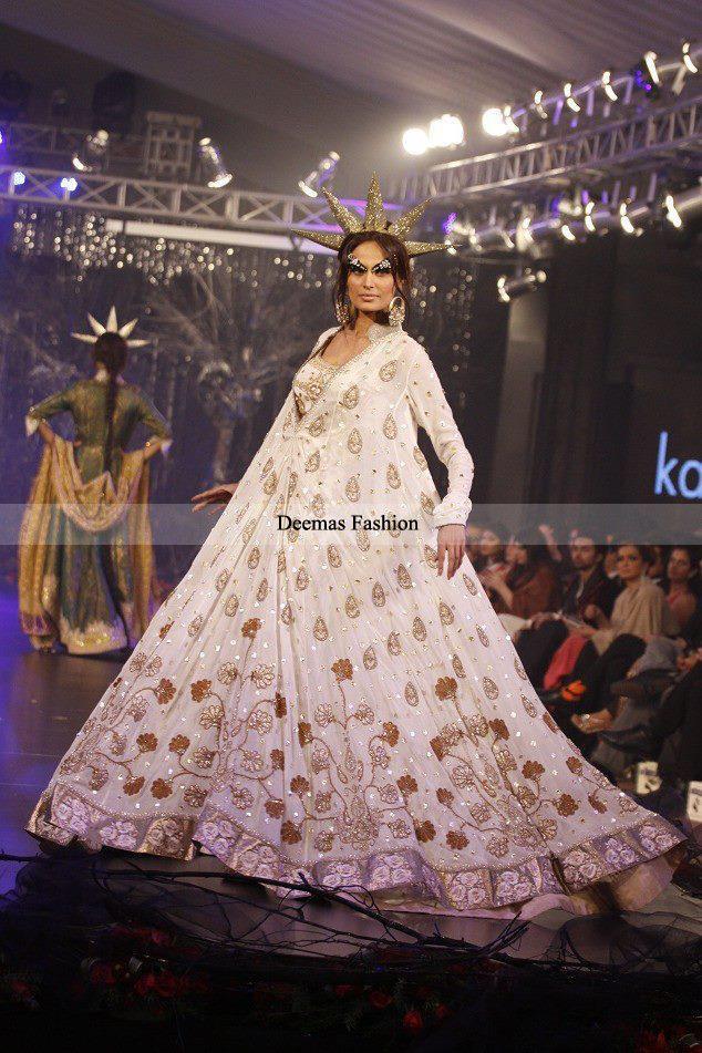 Designer Collection 2013 White Embroidered Anarkali Pishwas Dress
