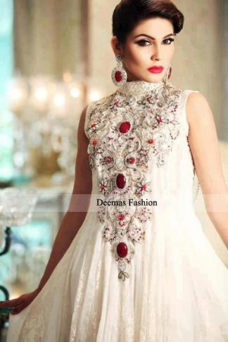 Designer Dress White Anarkali Frock
