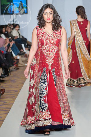 Designer Wear Bright Red Formal Pishwas
