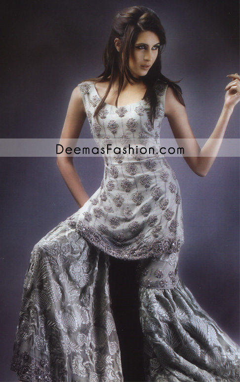 Designers Bridal Dress - Silver Grey Gharara