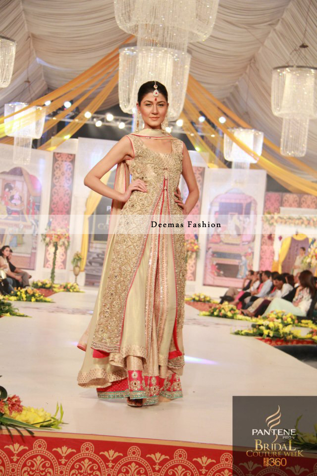 Faun Red Front Open Double Layer Gown Lehnga