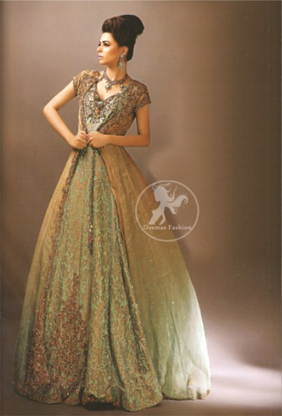 Latest Pakistani Fawn Gown with Pistachio Green Maxi