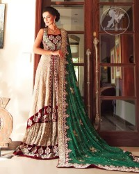 Fawn-and-bottle-green-Bridal-dress-with-front-opengown