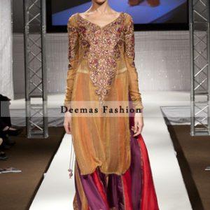 Golden Red Purple Formal Wear Lehnga