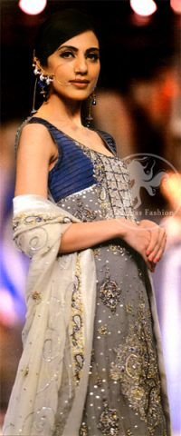 Gray-blue-Formal- Shirt-and-White-Dupatta