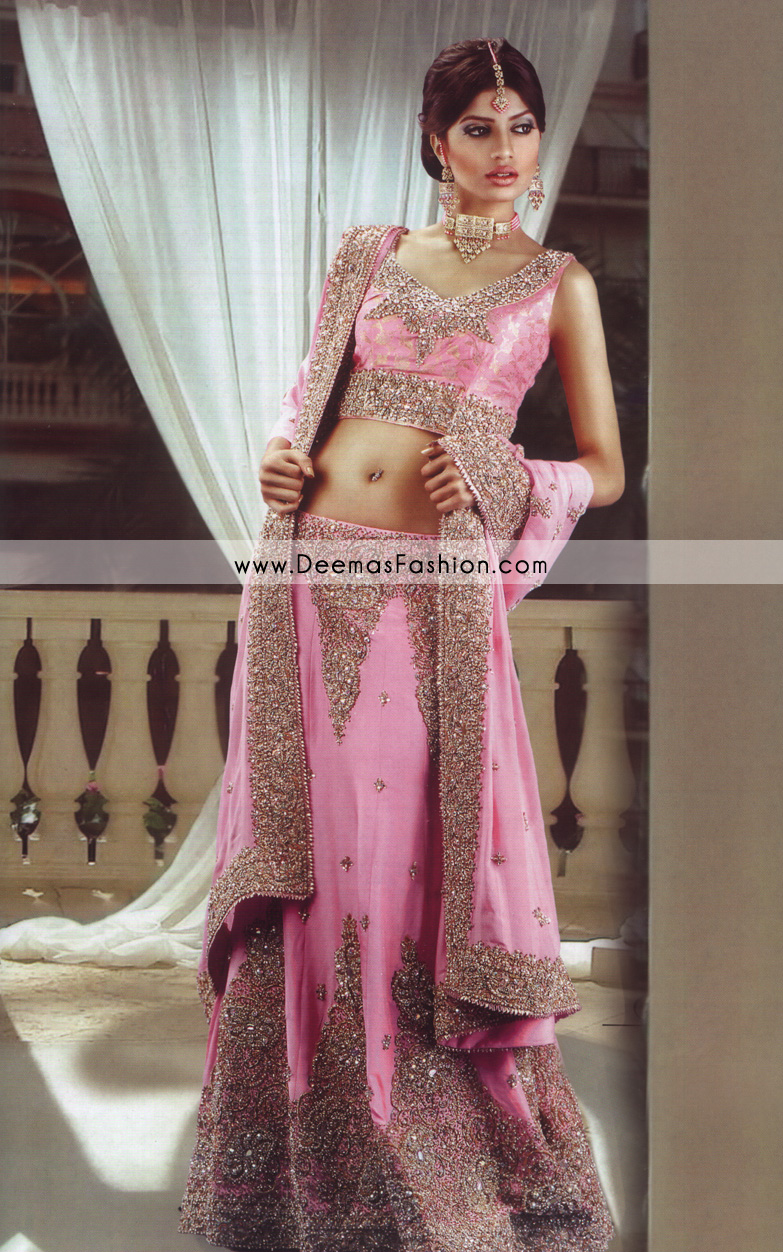Latest indian style lehenga pink golden bridal dress for Current wedding dress styles