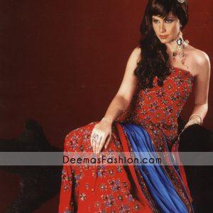 Indian Pakistani Bridal Wear – Red Blue Lehnga