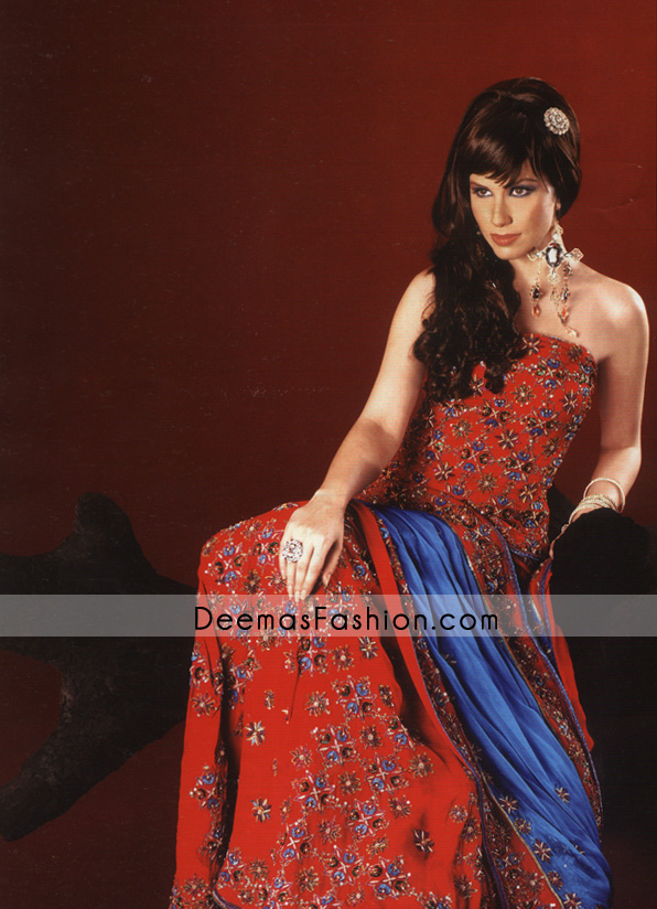 8d1c1be1d8 Here is Dress Detail For Indian Pakistani Bridal Wear – Red Blue Lehnga
