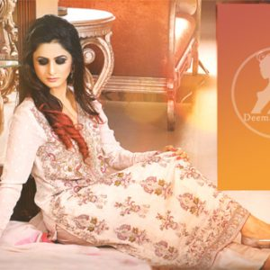 Latest Party Wear Kameez in Ivory White