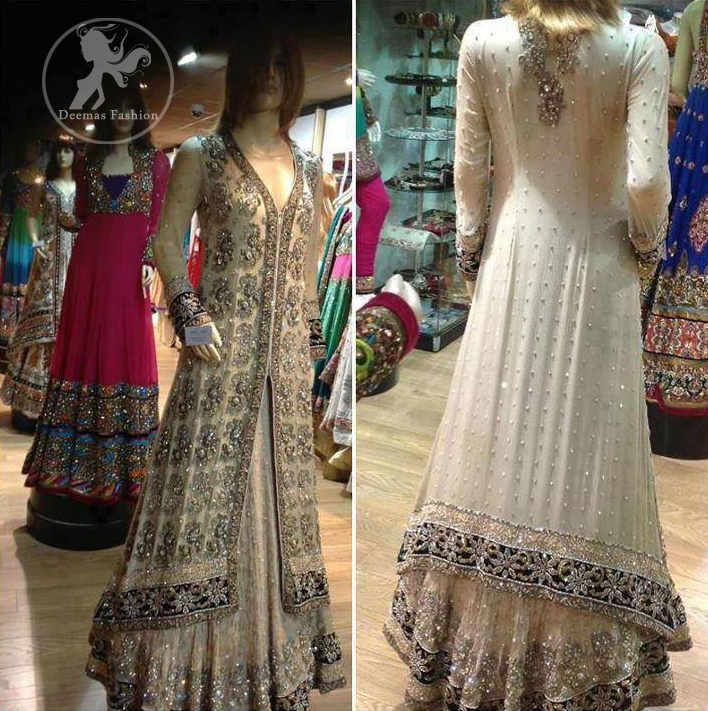 Ivory White Front Open Fully Embellished Back Trail Gown and Lehnga