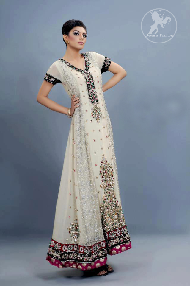 Ivory White Aline Frock and Churidar