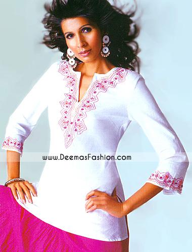 Ladied-Fashion-Wear—White–kurti