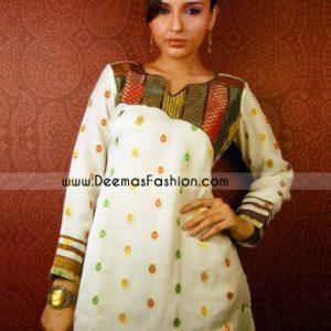 Indian Ladies Fashion - White Short Kurti Wear