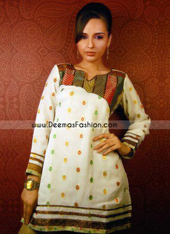 Indian Ladies Fashion – White Short Kurti Wear