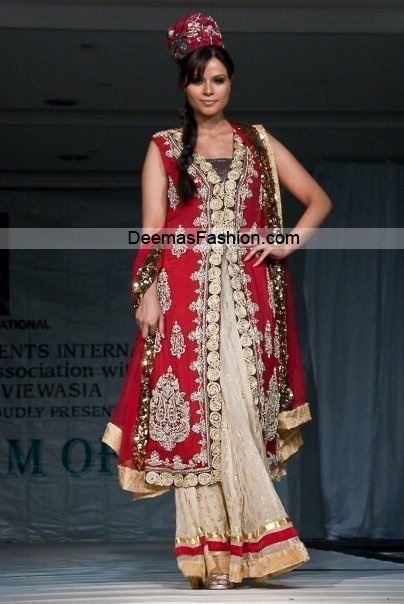 Lates Bridal Wear Collection – Red Off-White Sharara
