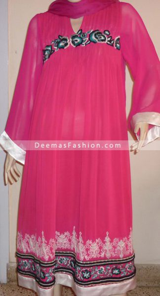 Latest Fashion Bright Pink Anarkali Dress