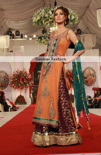 Latest Bridal Collection 2013 Orange Maroon Sharara