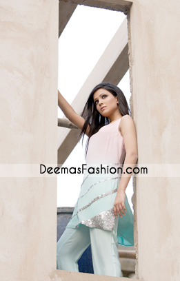 Latest Casual Wear Dress – Pink & Ferozi Designer Clothes