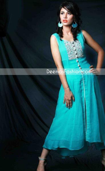 Pakistani Casual Wear – Ferozi A-Line Dress