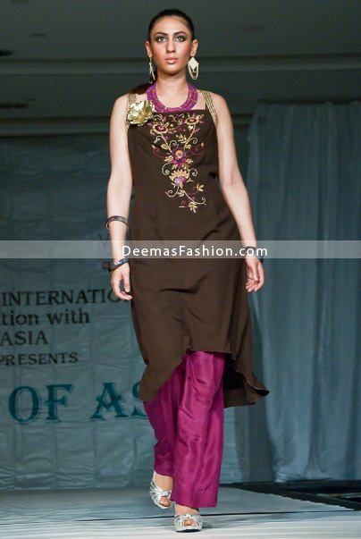 Latest Designer Dress – Brown Shocking Pink Casual Wear