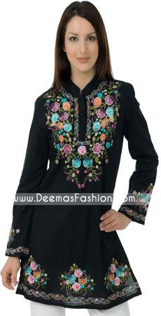Pakistani Ladies kurtiz Trend – Black Embroidered Tunic Kurti