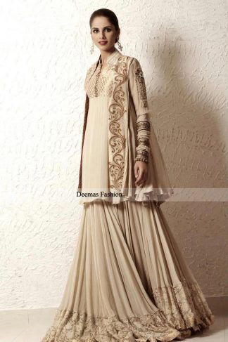 Latest Designer Dress Beige Gown Lehnga