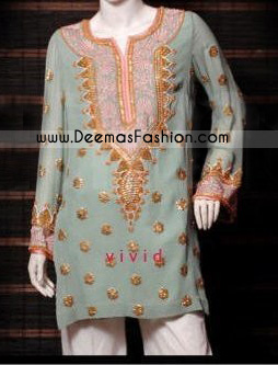 3bdd29d94 Pakistani Designer Wear Light Green Formal Kurti Wear
