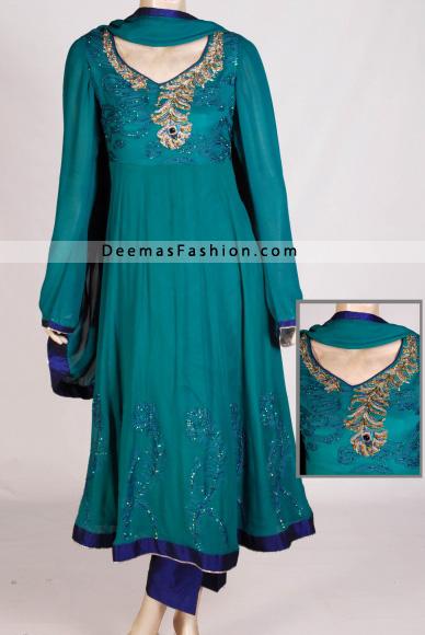 Latest Fashion – Ferozi Green Anarkali Kalliyan Style Frock