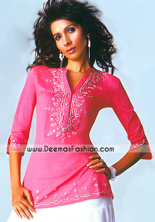 Ladies Designer Clothes – Pink Embroidered Kurta Wear
