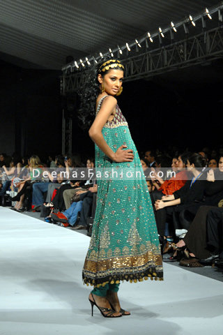 Latest Pakistani Fashion – Turquoise Green Anarkali Frock