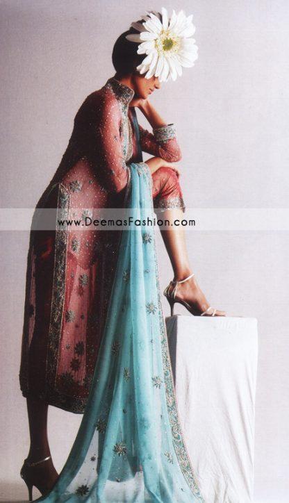 Latest Formal Dress – Peach Ferozi Gown Style Dress