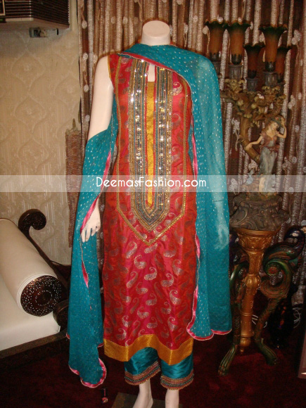 Latest Formal Wear – Red Turquoise Green Dress