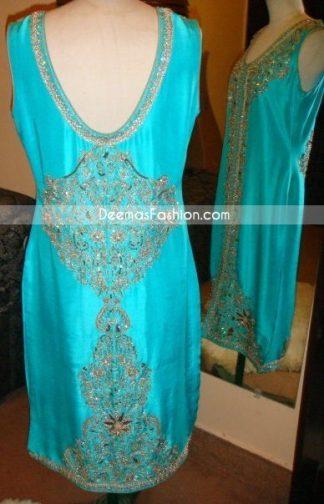 Latest Formal Trend Ferozi Designer Dress Back