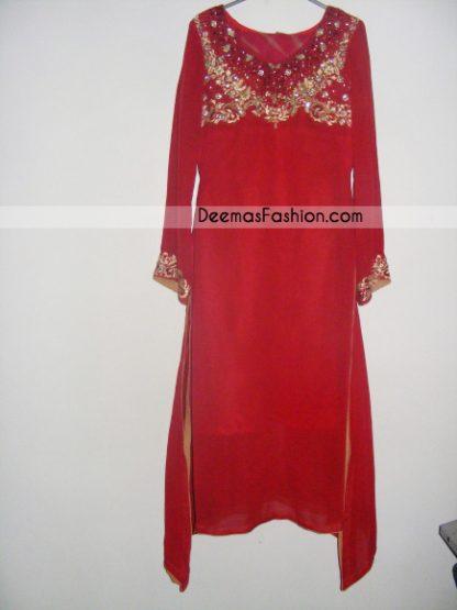 Latest Ladies Designer Wear - Red Golden A-Line Shirt