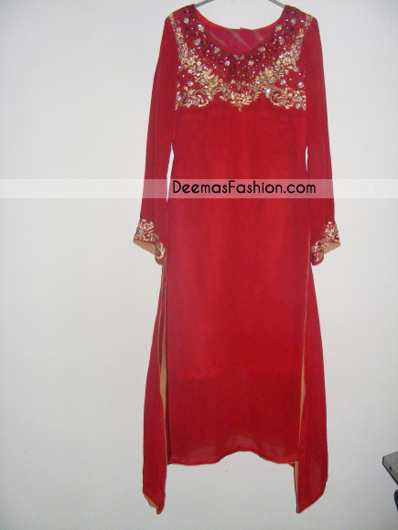 Latest Ladies Designer Wear - Red Golden A-Line Shirt