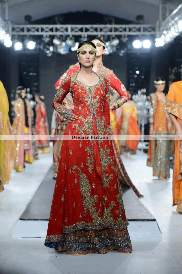Latest Pakistani Bridal Collection Orange Gown Latest