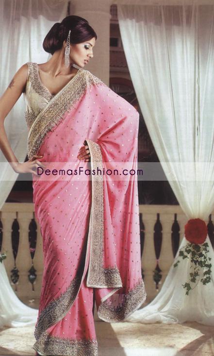 Latest-Pakistani-Bridal-Dress-Pink-Embroidered-Sari