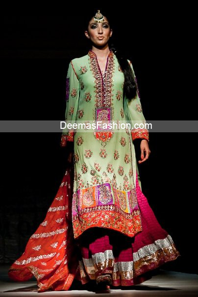 Latest Pakistani Bridal Wear-Multi Sharara
