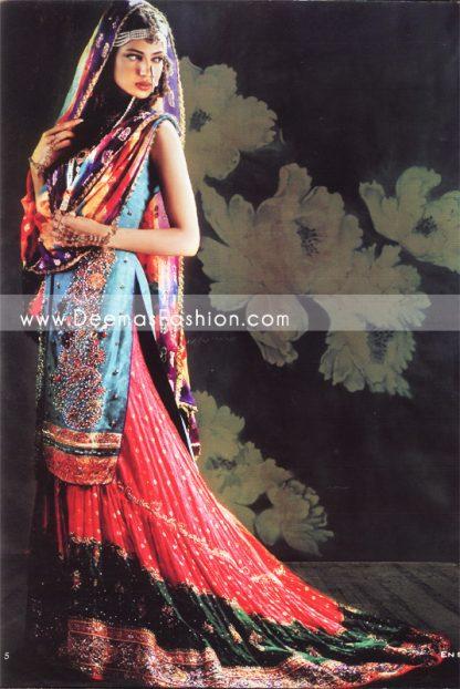 Latest Pakistani Bridal Wear - Red Blue Lehnga