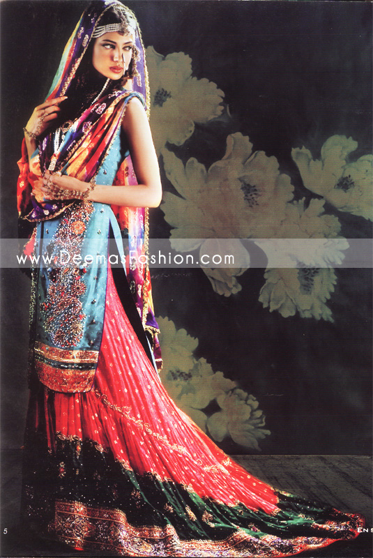 Latest Pakistani Bridal Wear – Red & Blue Lehnga