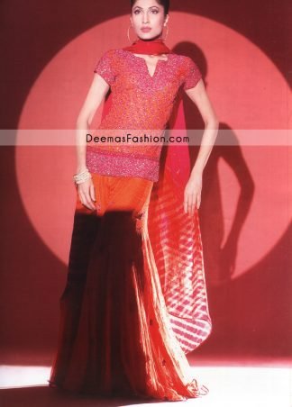 Latest Pakistani Bridal Wear - Shocking Pink & Orange Sharara