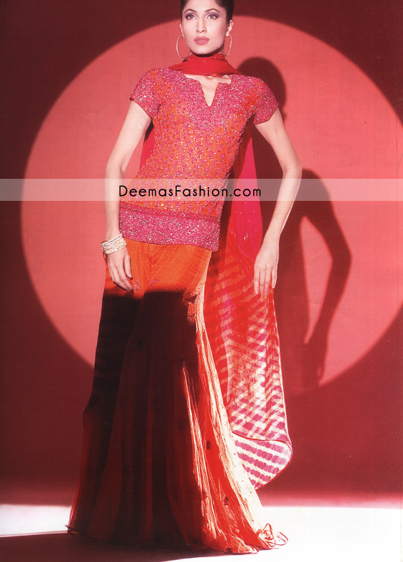 Latest Pakistani Bridal Wear – Shocking Pink & Orange Sharara