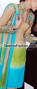 Latest Pakistani Casual Wear - Light Brown Shalwar Kameez Dress