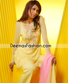 Latest Pakistani Casual Wear – Yellow Embroidered Dress