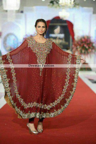 Latest Pakistani Deep Red Designer Dress 2013